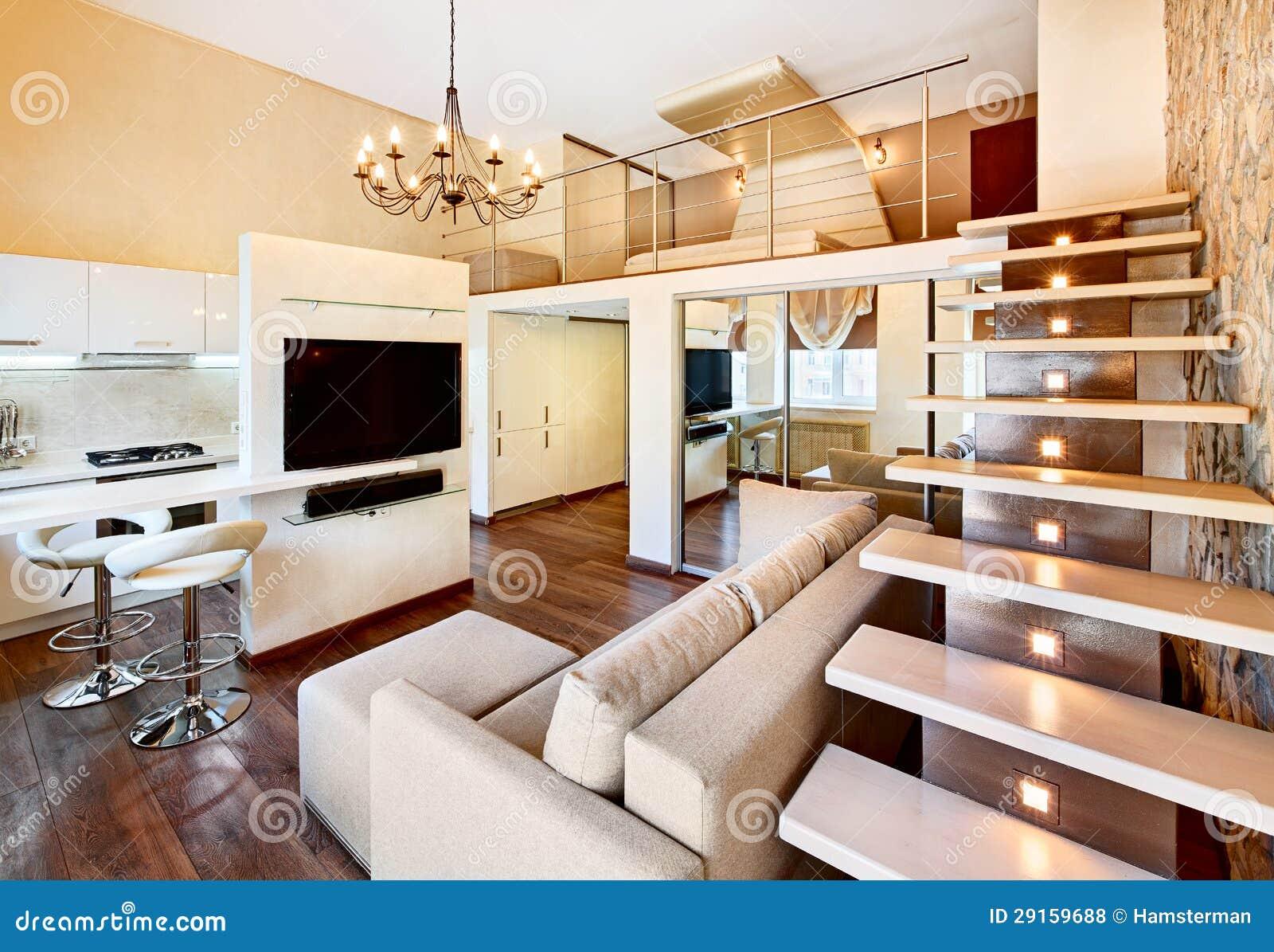 Interior dois alto do minimalismo moderno com escadaria for Minimalismo moderno