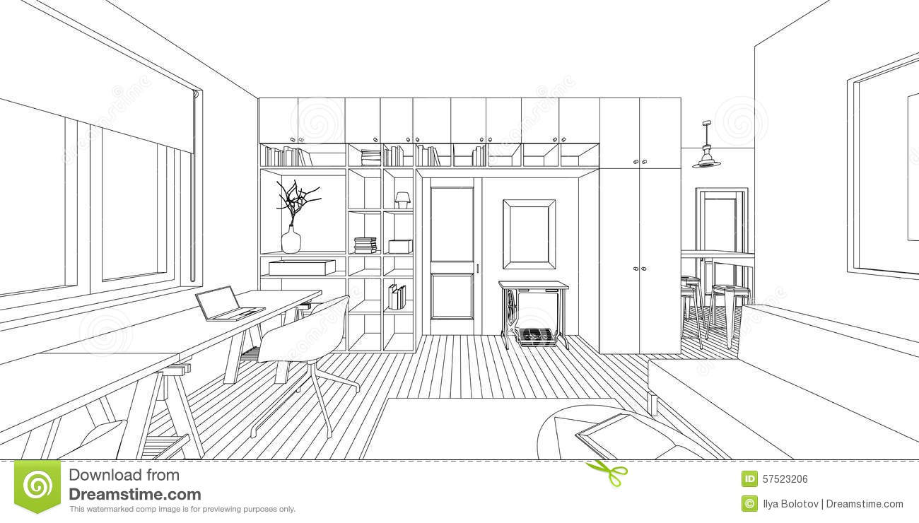 Interior drawing stock vector image 57523206 for Drawing room interior design photos