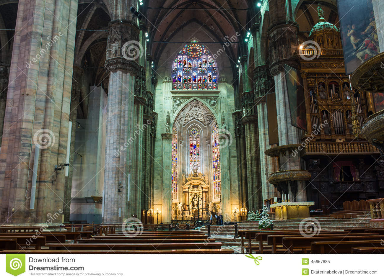 Interior Of Duomo Cathedral In Milan Stock Image Image