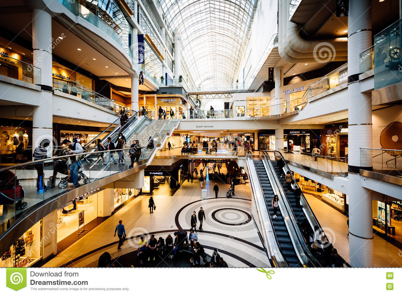The interior of the Eaton Centre, in downtown Toronto, Ontario.