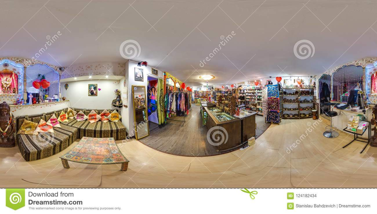Interior Of Eco Store With Clothes And Yoga Items 3d Spherical Panorama With 360 Degree Viewing Angle Ready For Virtual Reality Stock Photo Image Of Equi Full 124182434