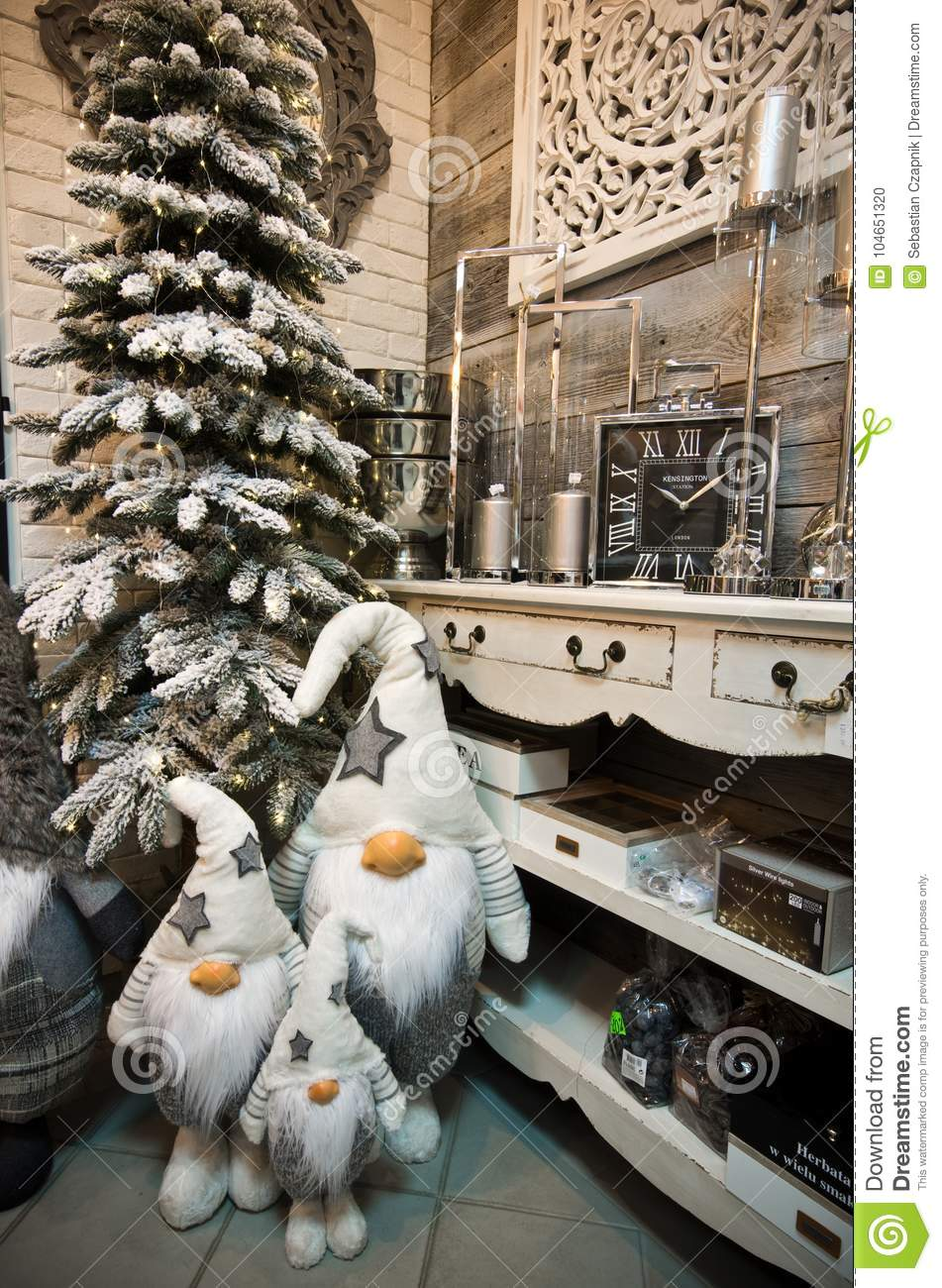 Christmas Business Decorations.Interior Of A Home Articles Shop With Christmas Decoratoins