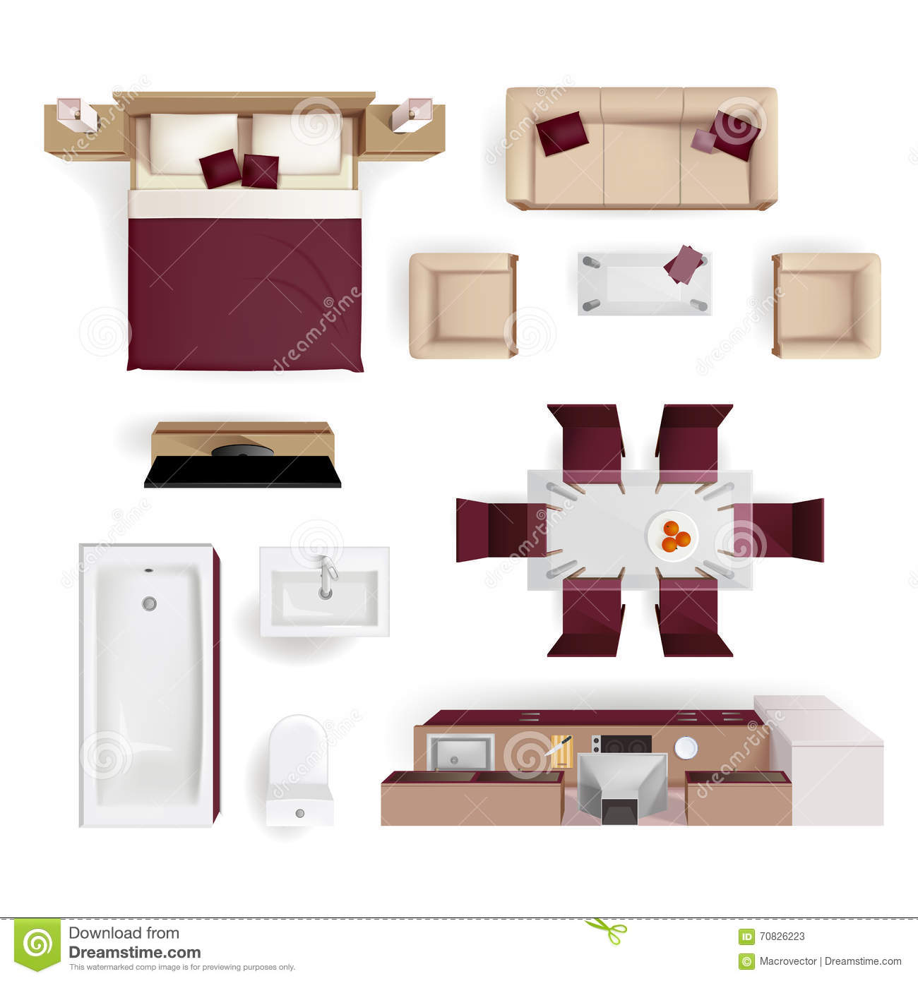 Vector Modern Studio Apartment Top View Illustration