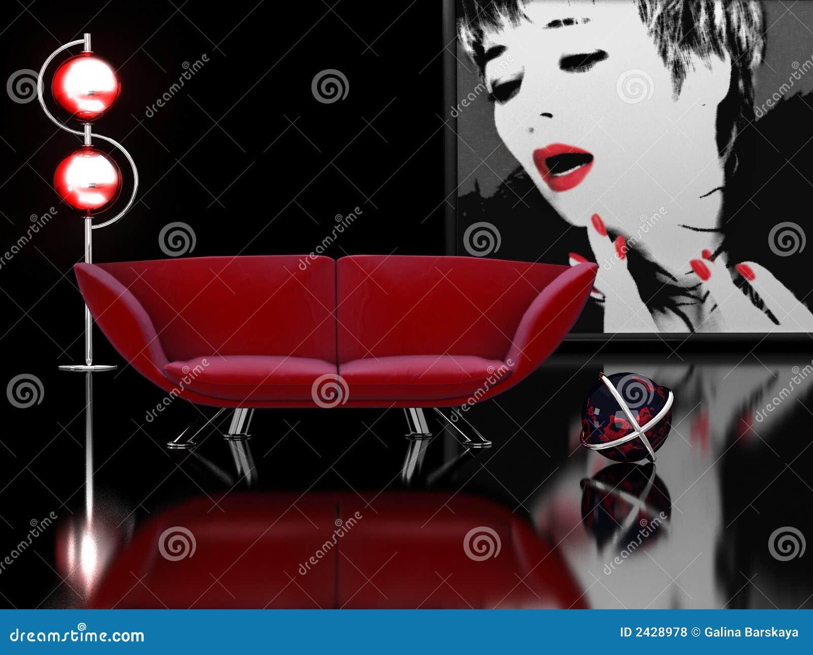 Interior em preto e no vermelho