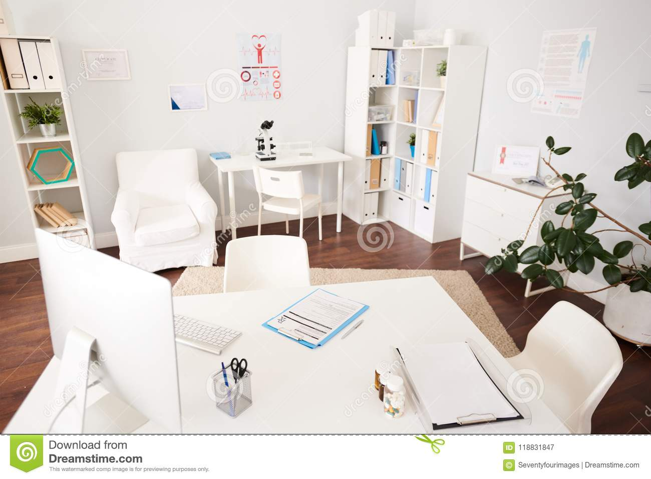 modern doctors office. Interior Of Empty Doctors Office In Modern Clinic 0