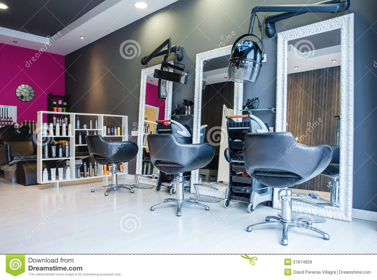 Interior of empty modern hair and beauty salon stock photo for Photo salon moderne