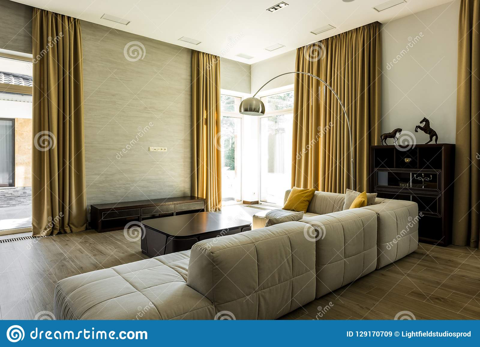 Interior Of Empty Modern Living Room With Sofa And Big Windows Stock Image Image Of Curtains Decorative 129170709
