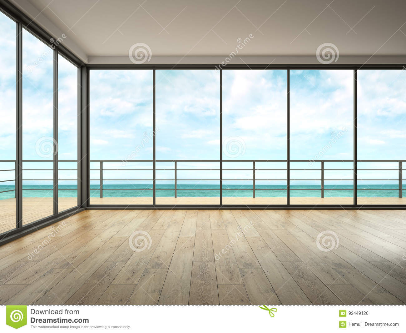 Interior Of Empty Room With Sea View 3d Rendering Stock