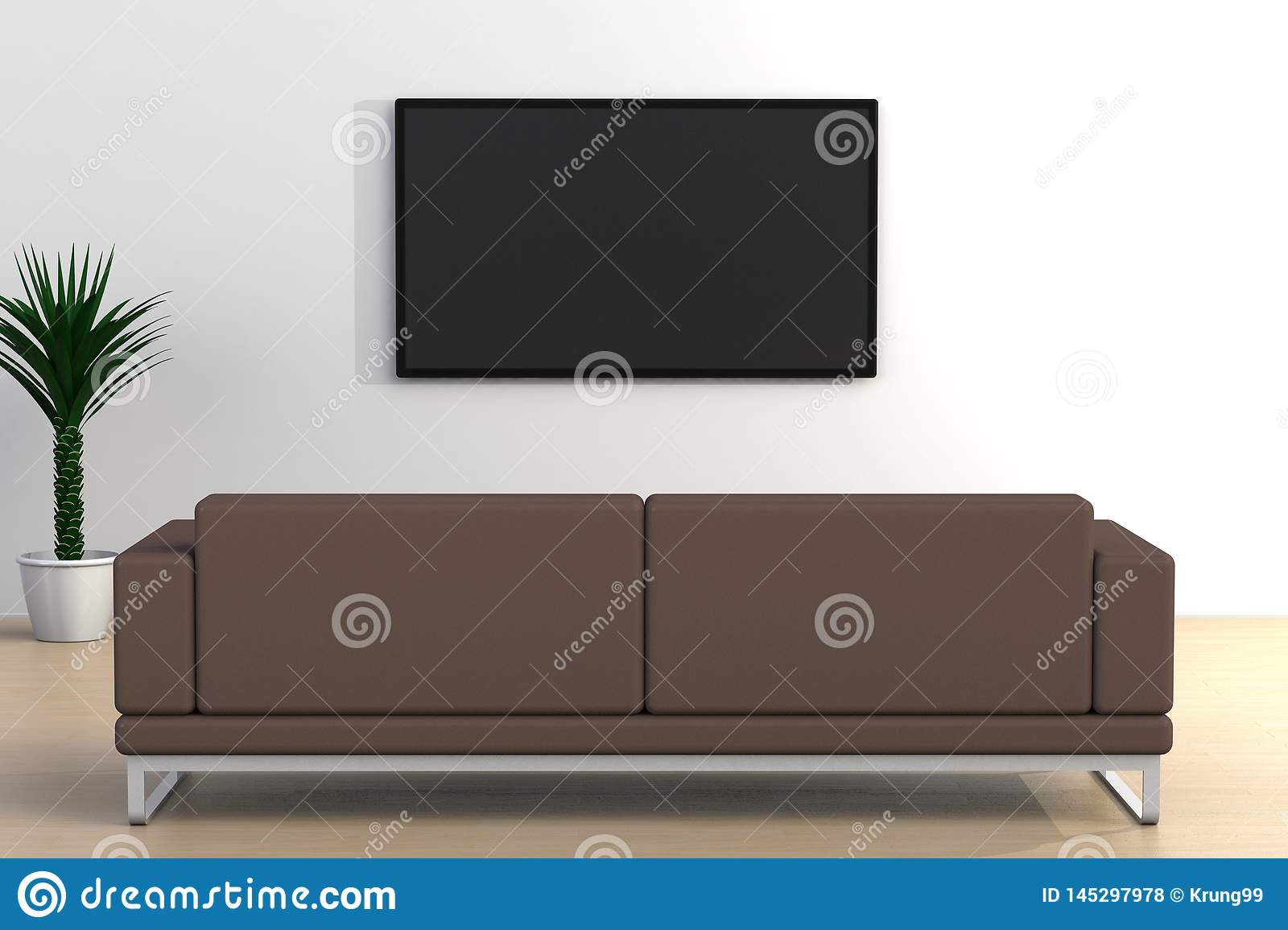 Interior Of Empty Room With Tv And Sofa Living Room Led Tv On White Wall Modern Style Stock Illustration Illustration Of Looking Room 145297978