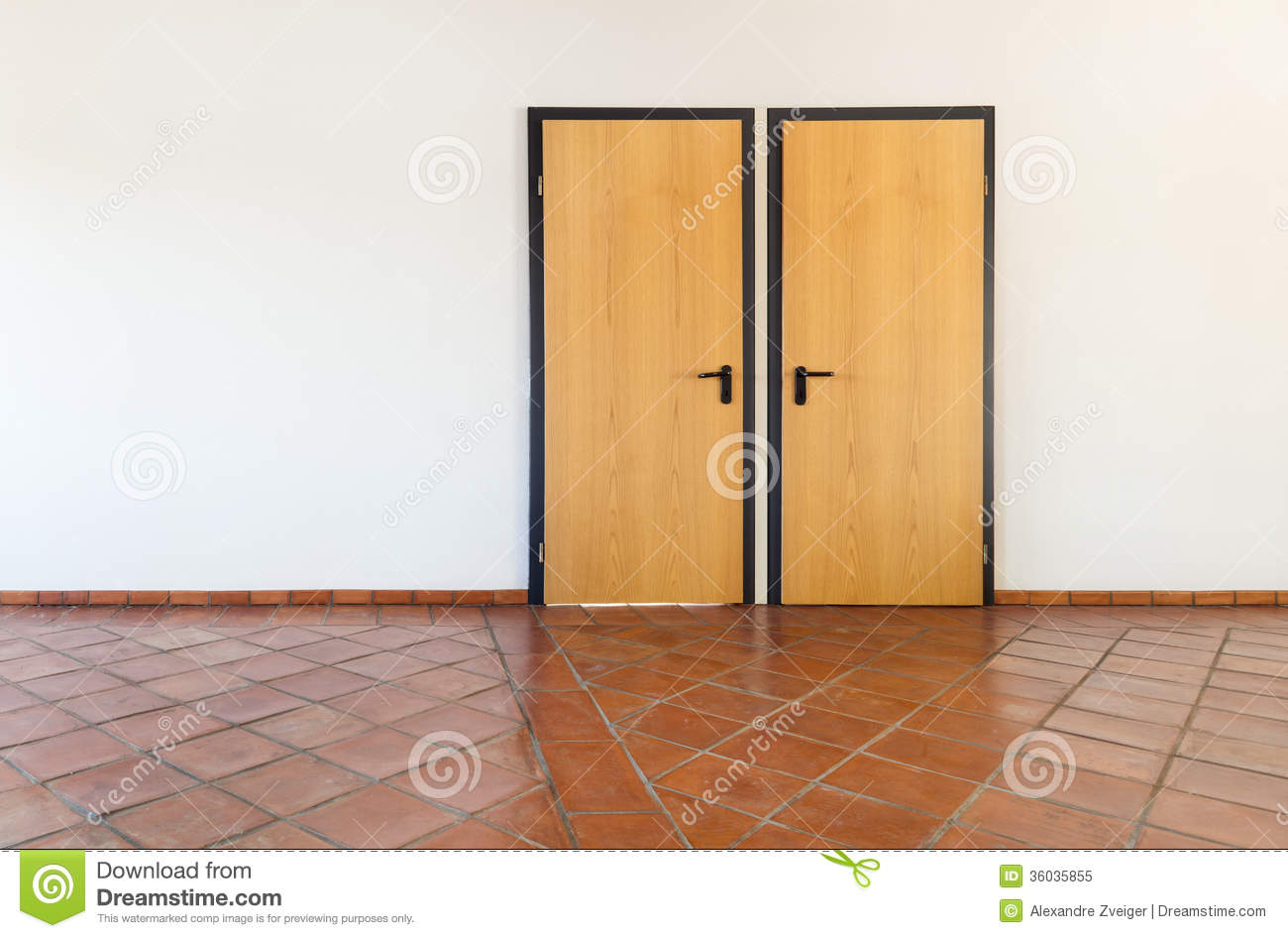 Royalty-Free Stock Photo & Interior Empty Room With Two Doors Stock Image - Image: 36035855