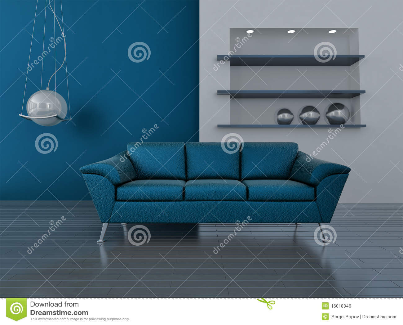 Interior en tonos azules imagen de archivo libre de - Tonos azules ...