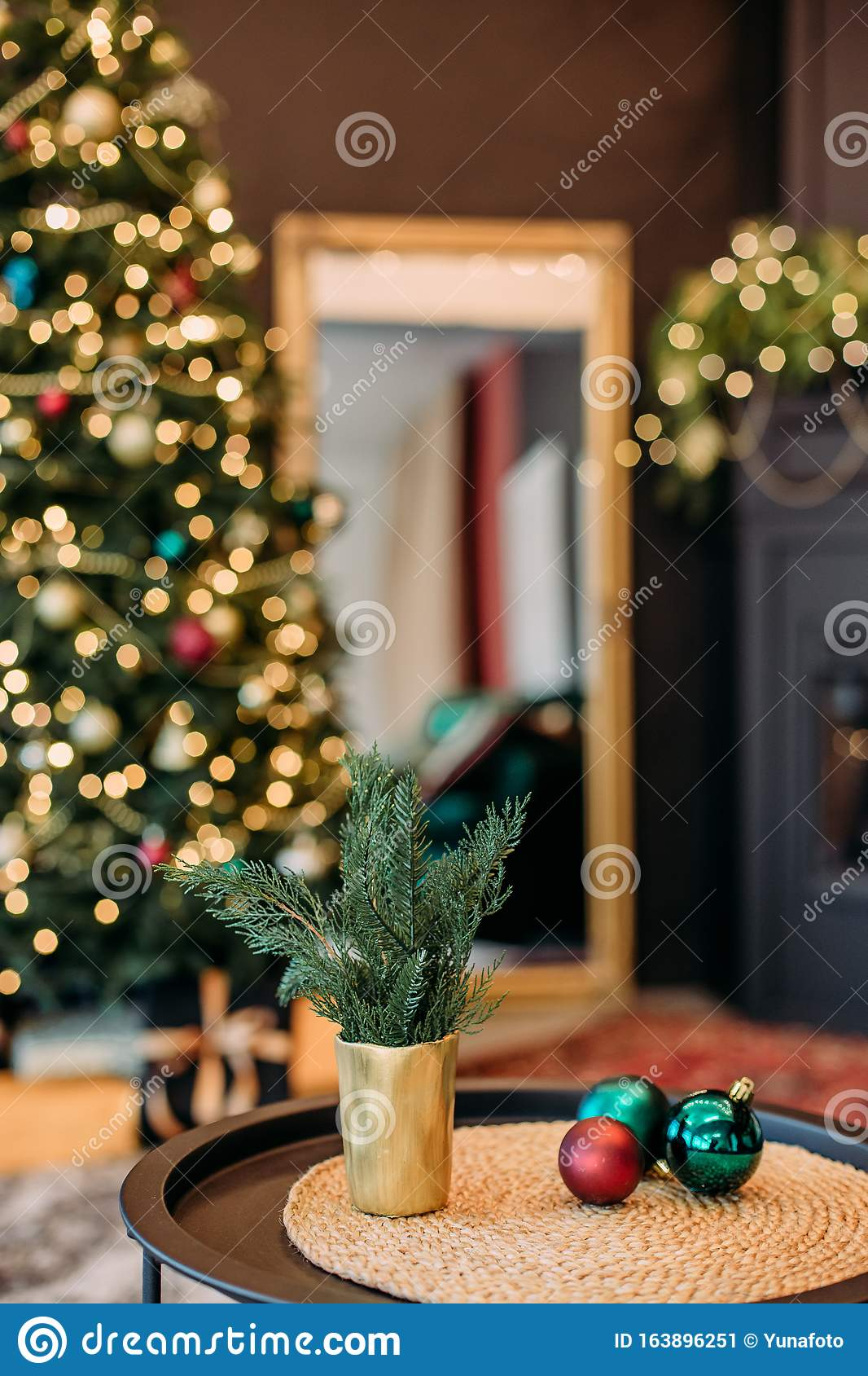 Interior Exquisite Black Gold Fireplace Christmas Tree Stock Image Image Of Symbol Design 163896251