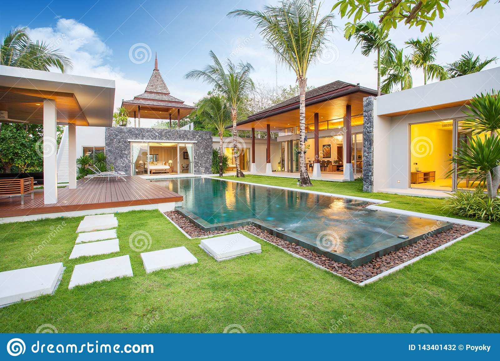 Interior And Exterior Design Of Pool Villa With Swimming Pool Of The House Or Home Building Stock Photo Image Of Leisure Interior 143401432