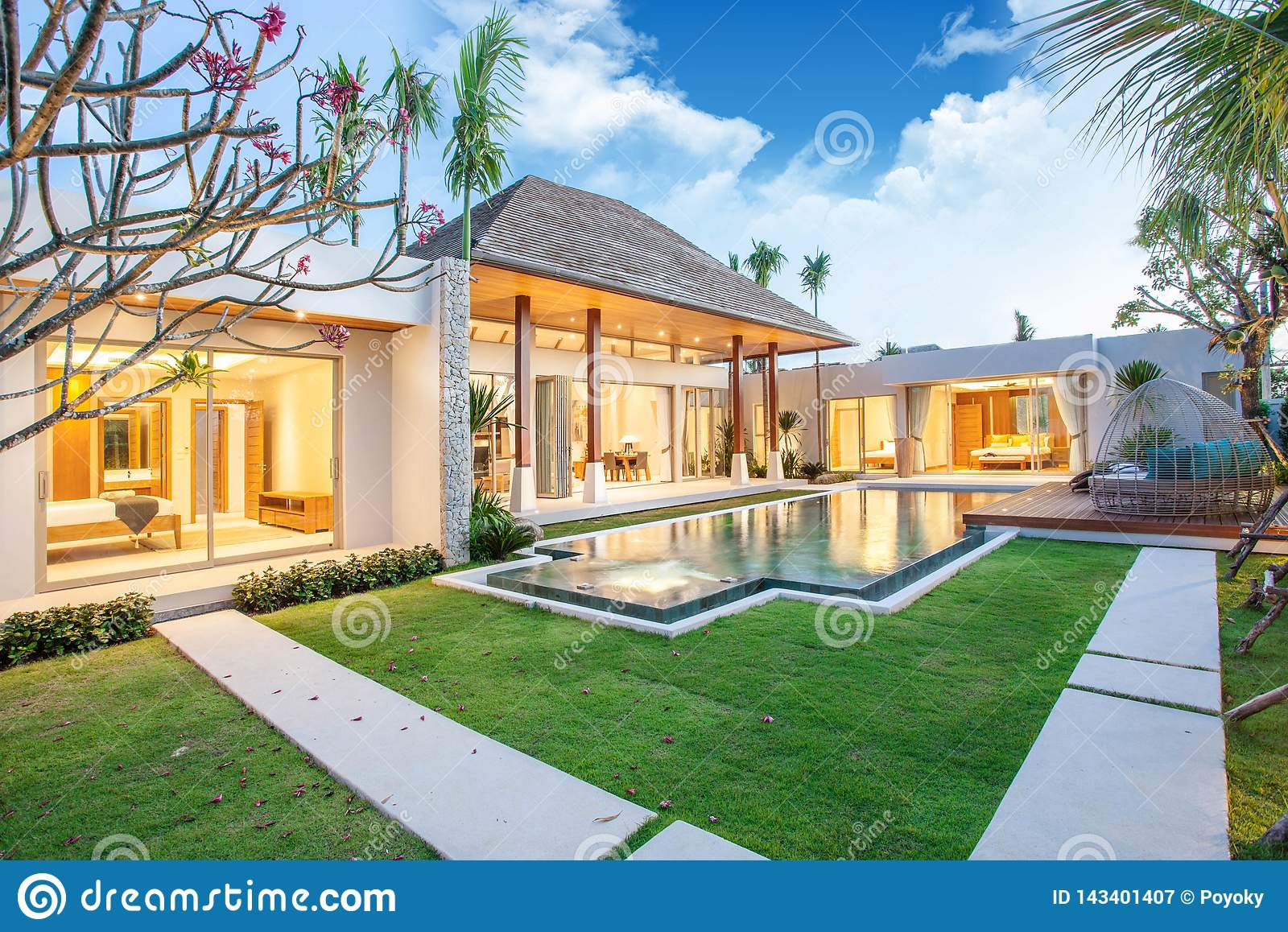 Interior And Exterior Design Of Pool Villa With Swimming Pool Of The House Or Home Building Stock Image Image Of Blue Leisure 143401407