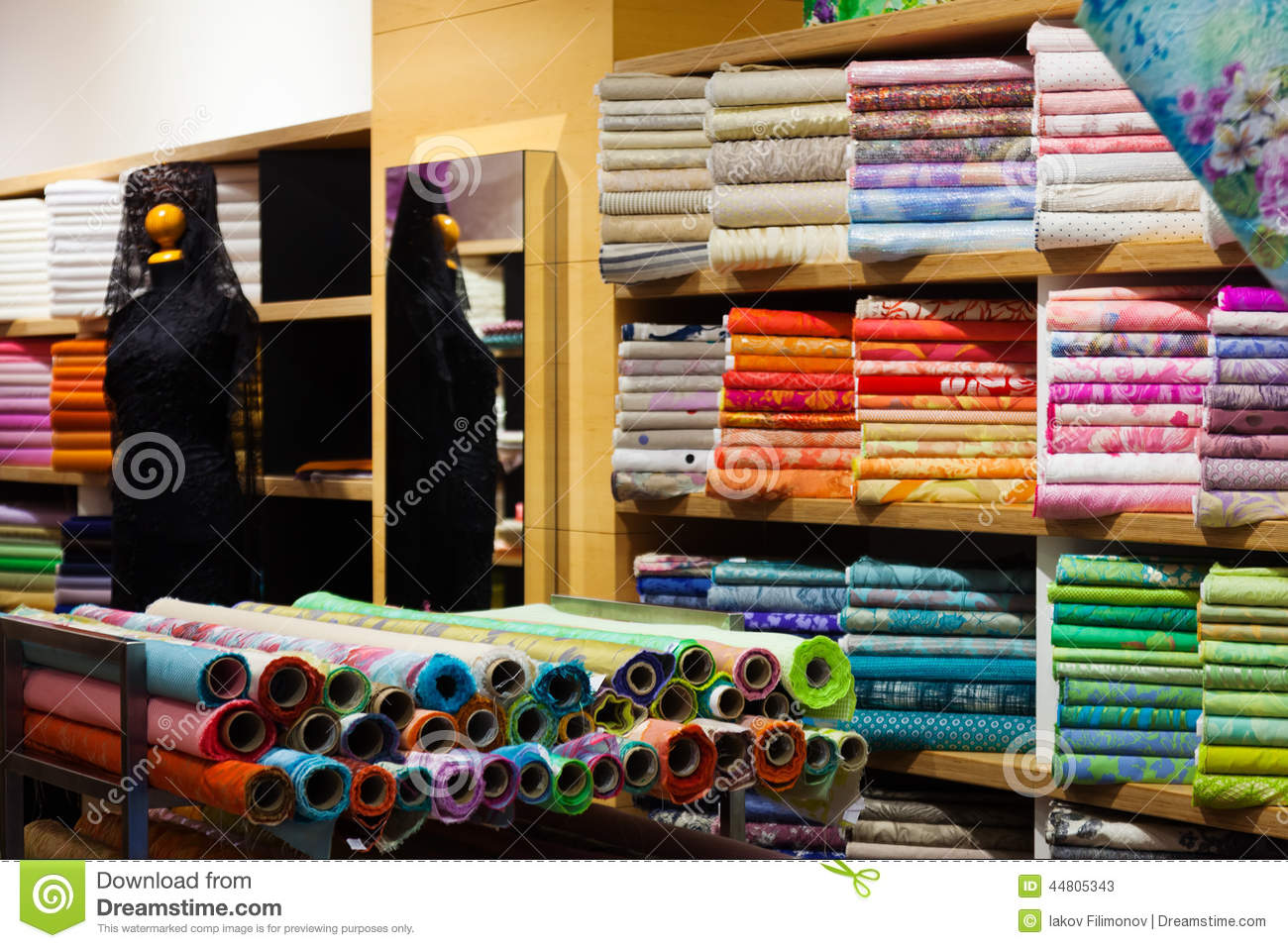 Interior of fabric shop stock image image of indoors for Designer fabric store