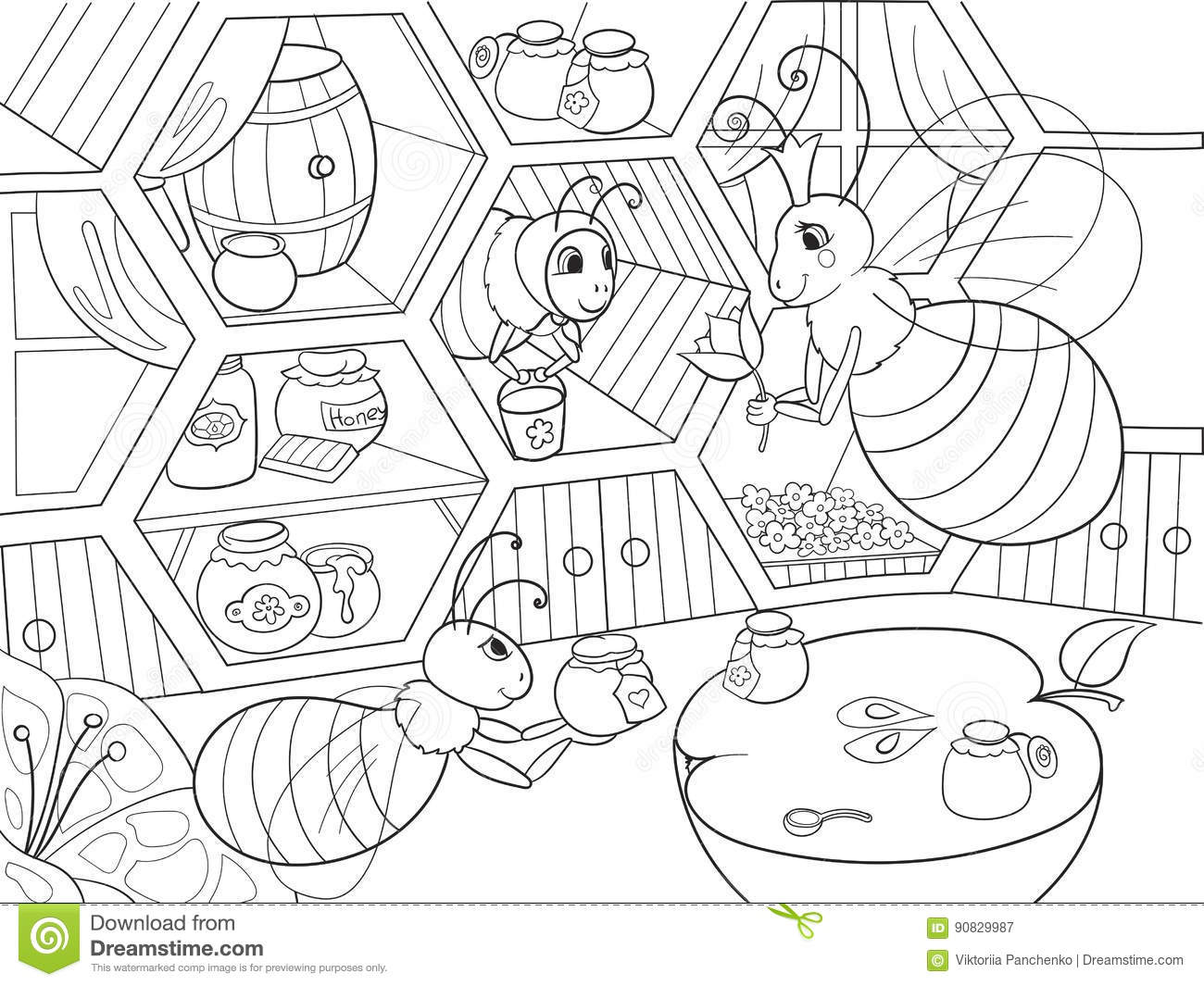 Interior and family life of bees in the house coloring for for Zentangle per bambini