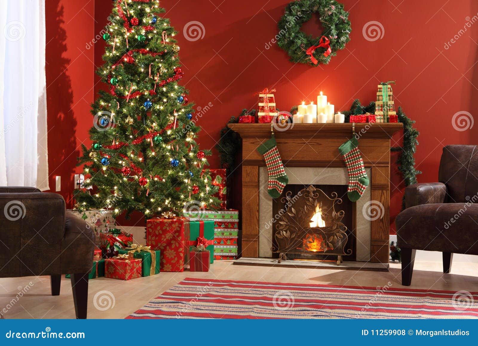 Interior festivo de la Navidad