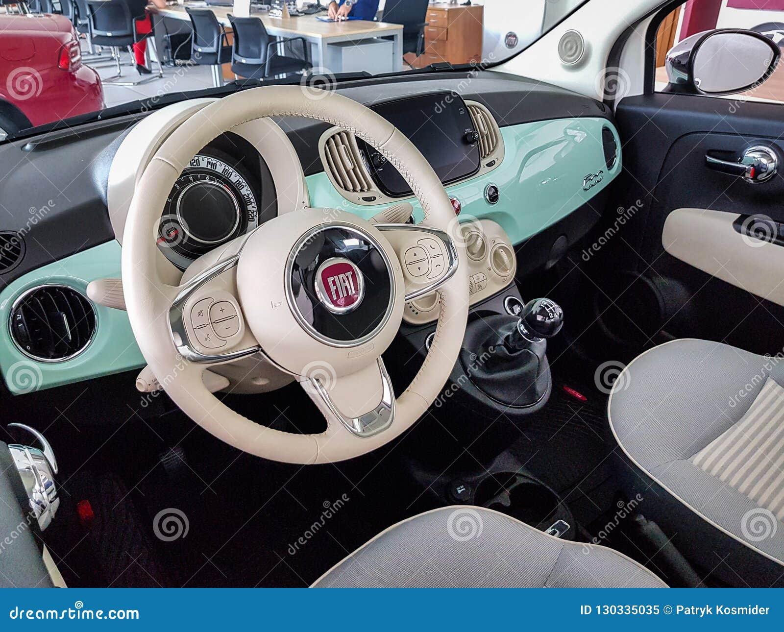 Interior Of Fiat 500 Car Editorial Image Image Of 2018 130335035