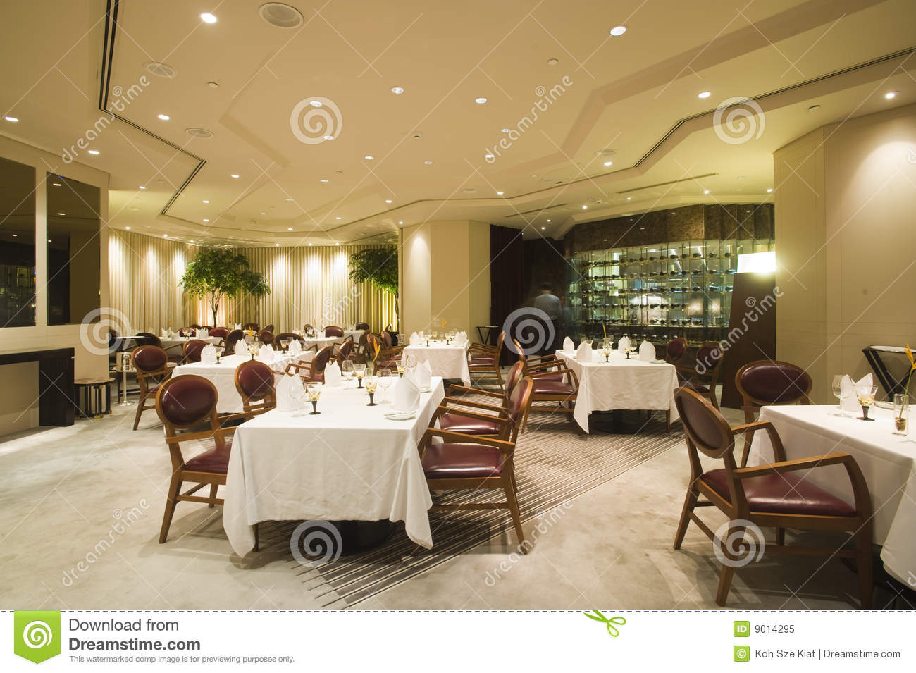 Interior of fine dining restaurant stock image
