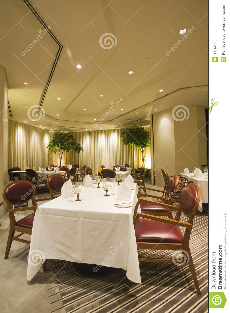 Interior of fine dining restaurant royalty free stock