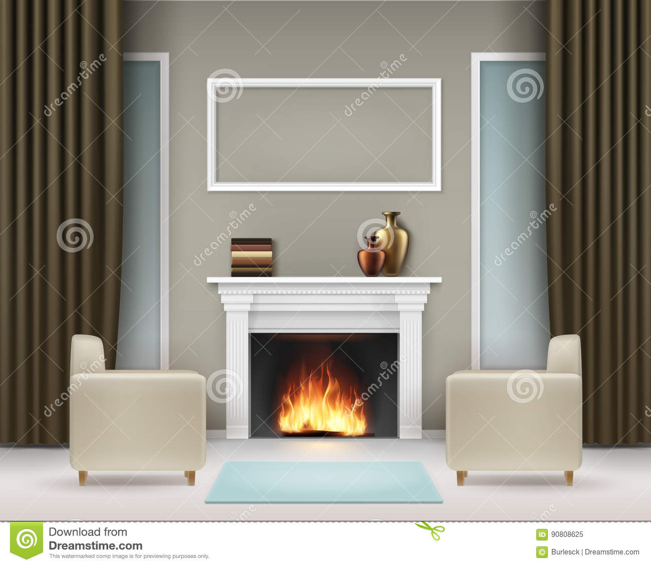 Picture of: Interior With Fireplace Stock Vector Illustration Of Brown 90808625