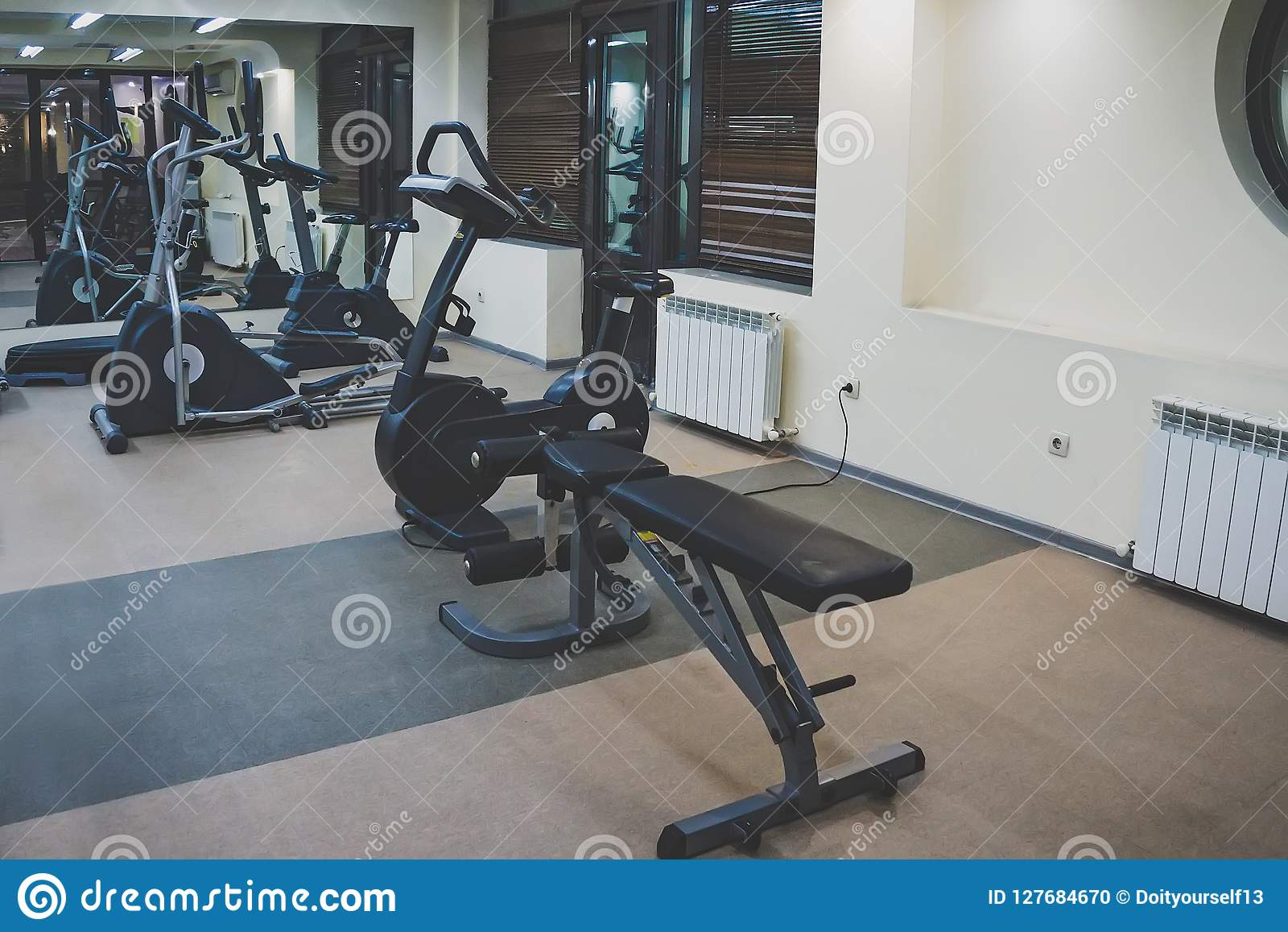 Interior of a fitness hall. various gyms for sports in a small home