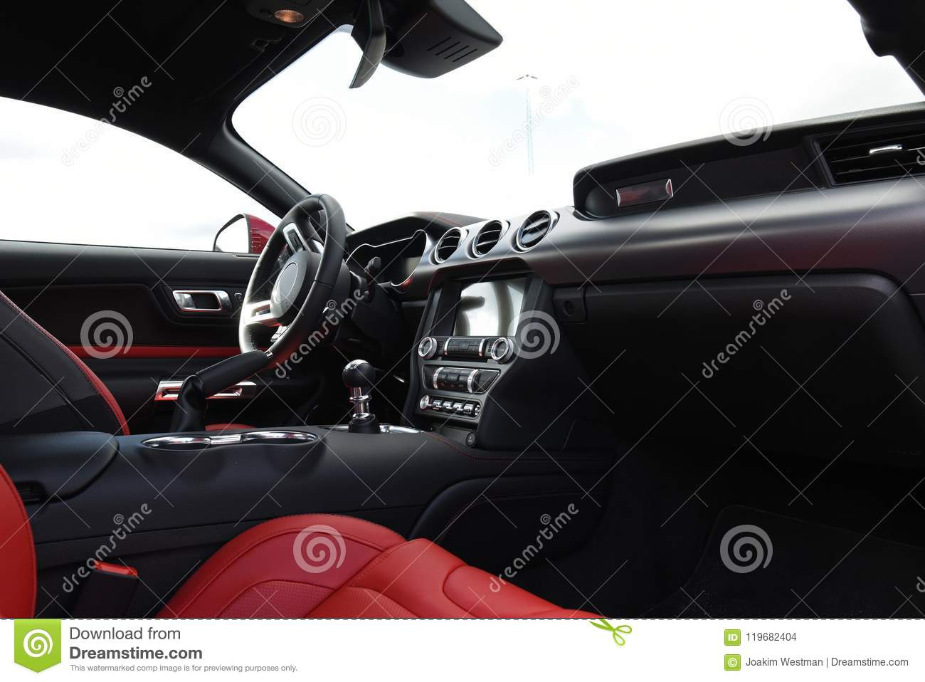 Car Interior And Instrument Of A Ford Mustang 2018 Stock Photo