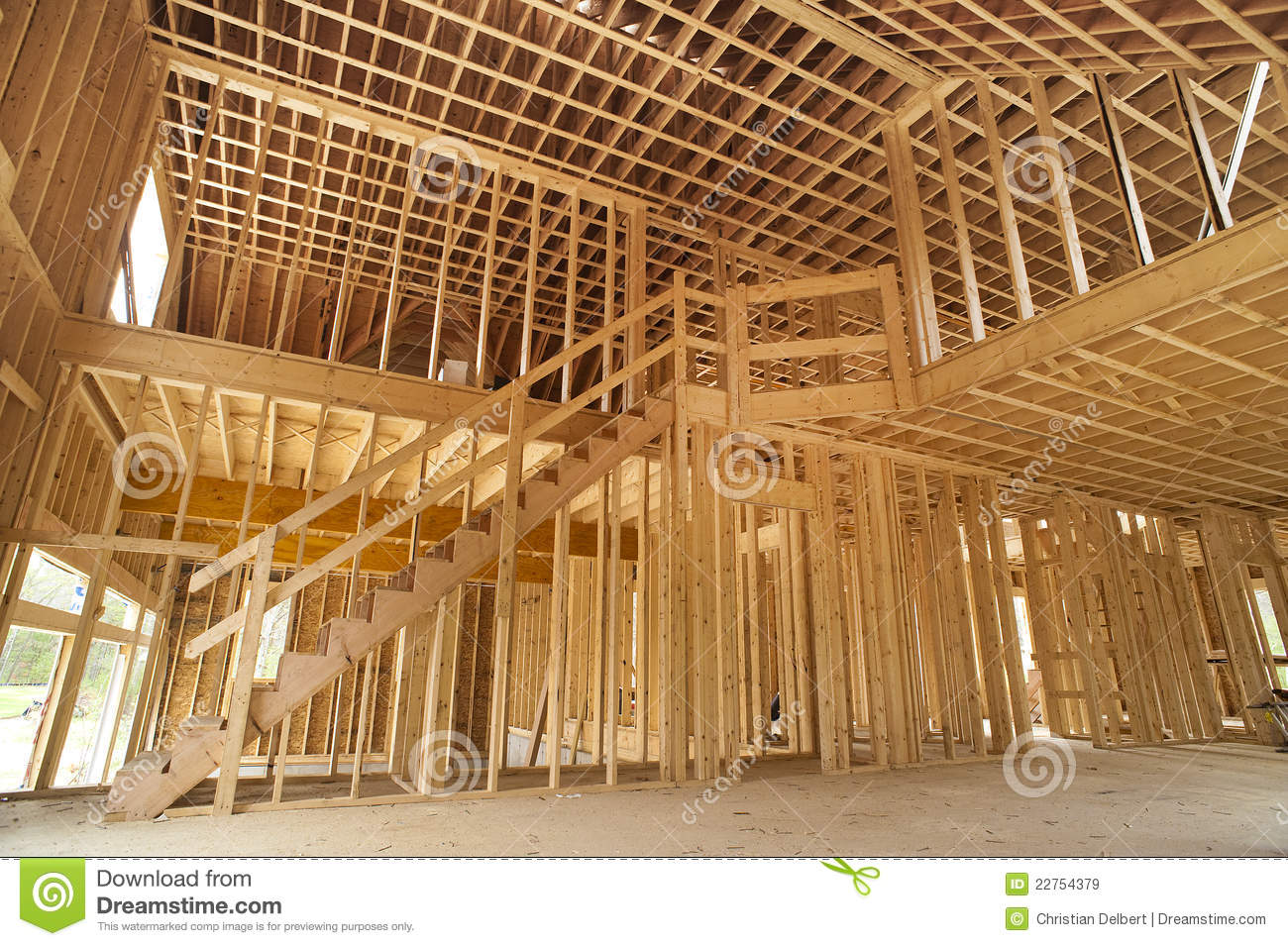 Interior Framing Of A New House Royalty Free Stock Images