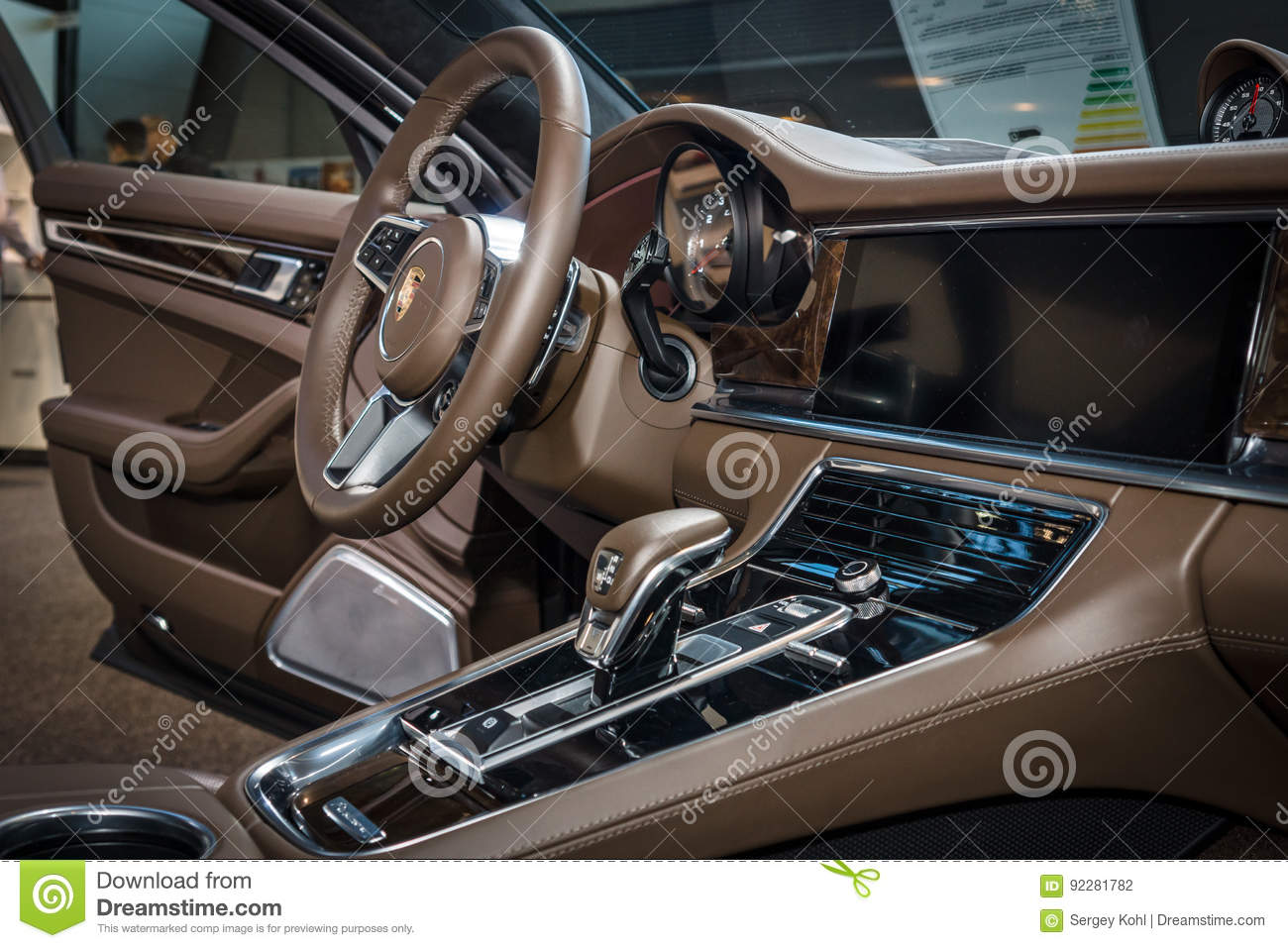 Interior Of The Full Size Luxury Car Porsche Panamera Turbo