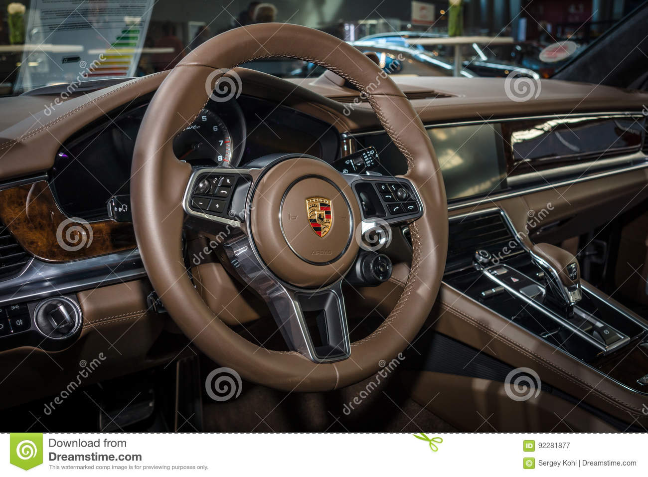 Interior Of The Full Size Luxury Car Porsche Panamera Turbo 2016