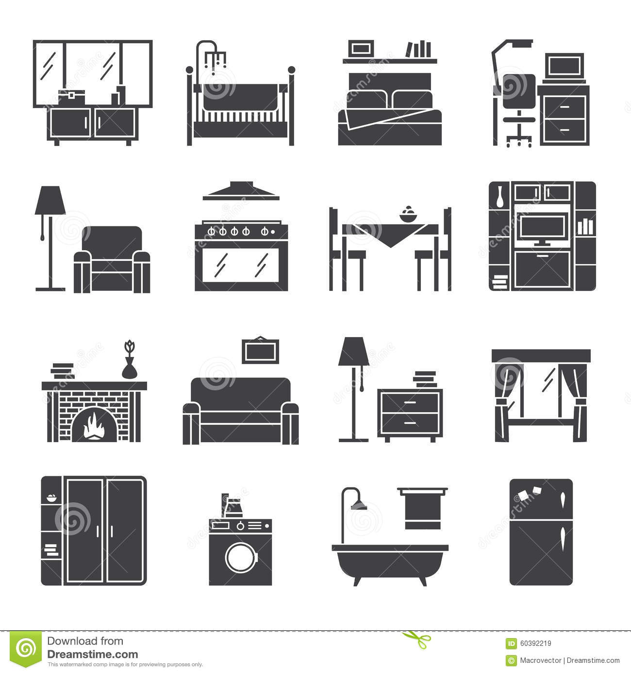 Interior And Furniture Icons Set Stock Vector - Image ...