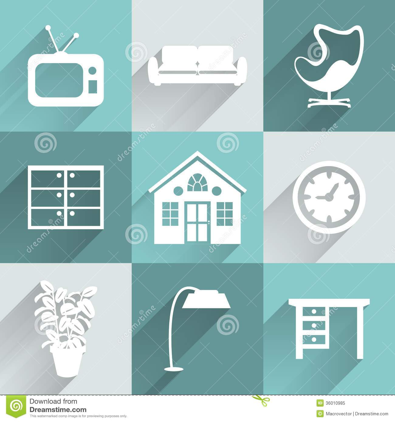 Interior Furniture Icons Set Royalty Free Stock Photo ...