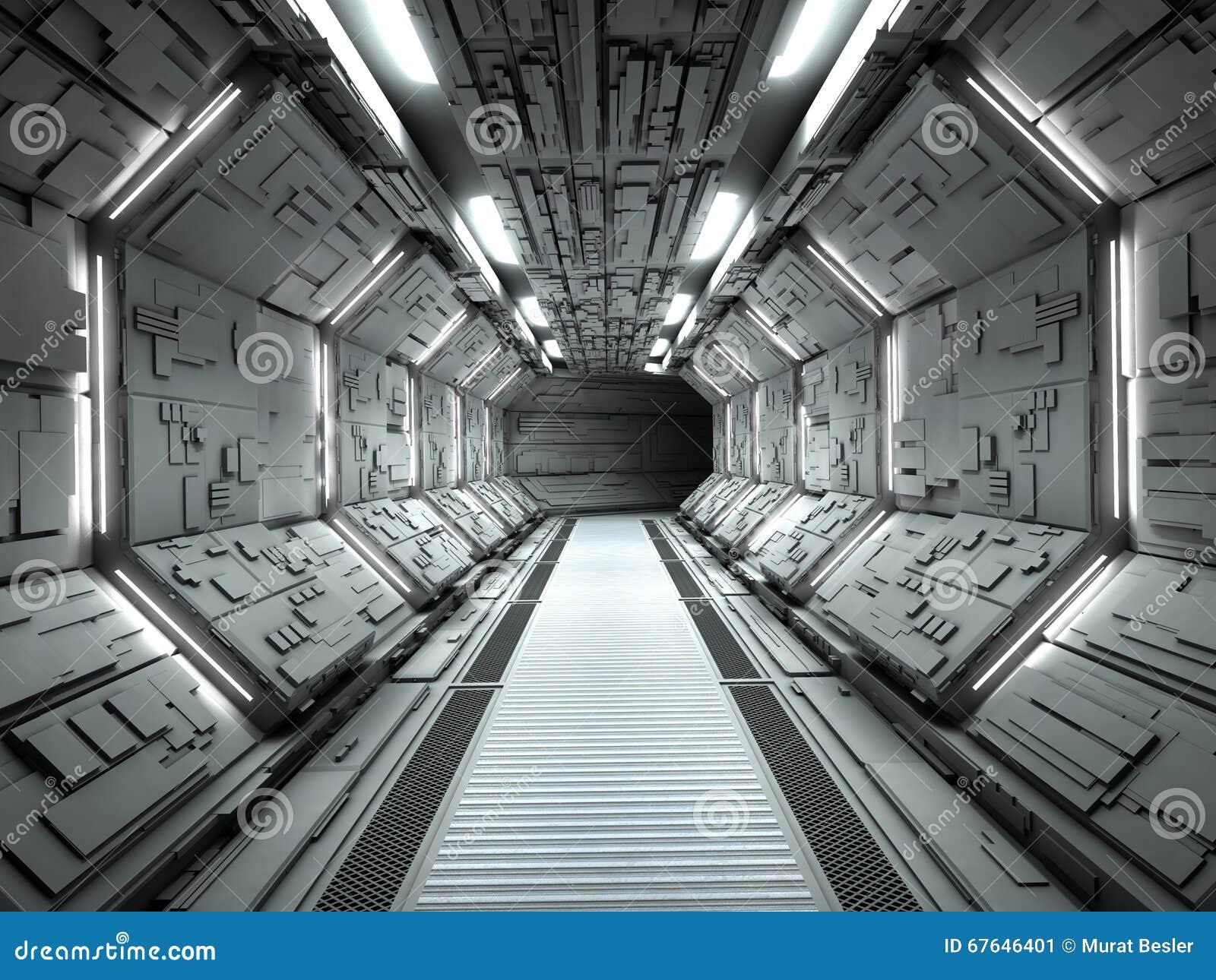 Interior De Ventana De Nave Espacial: Interior Futurista Da Nave Espacial Ilustração Stock