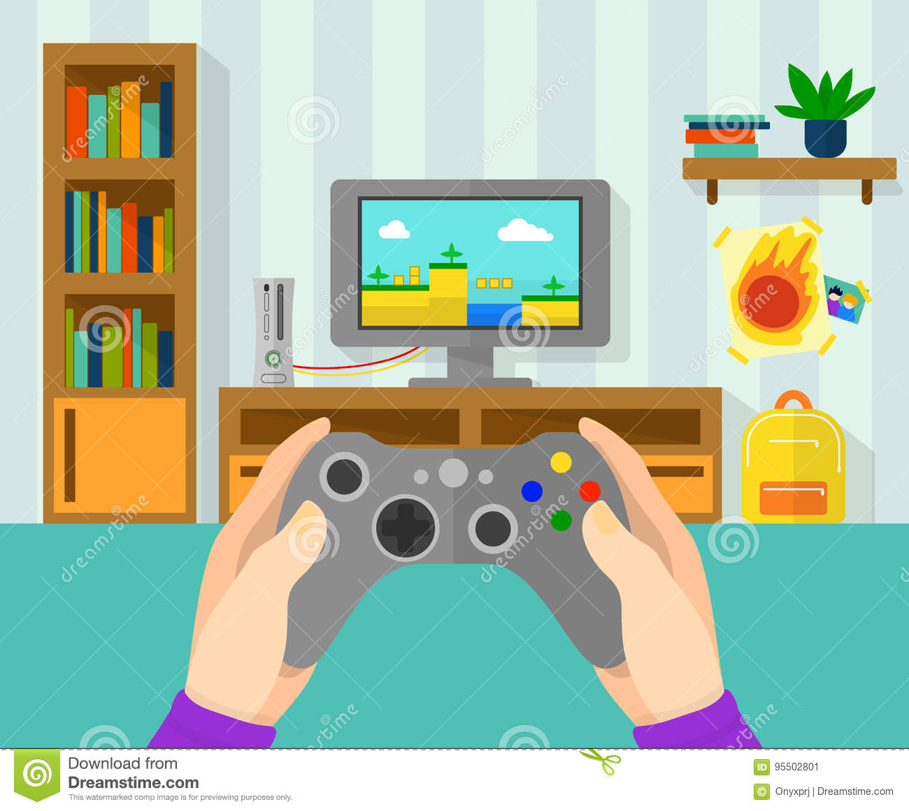 Interior Design Games For Pc Free Download: Interior Of Gamer Room. Illustration Of Game Controller In
