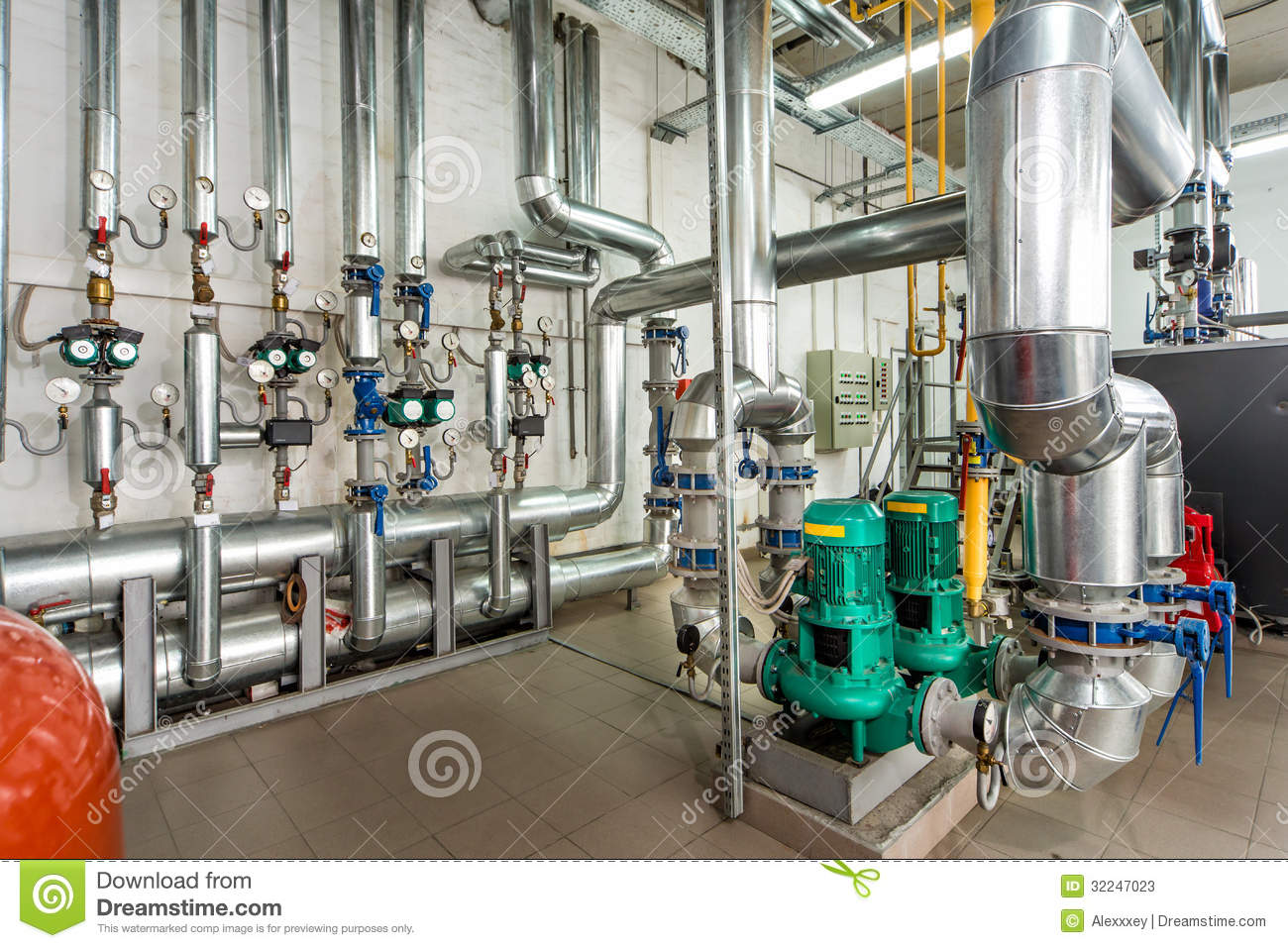 Interior Gas Boiler Room With Multiple Pumps And Piping