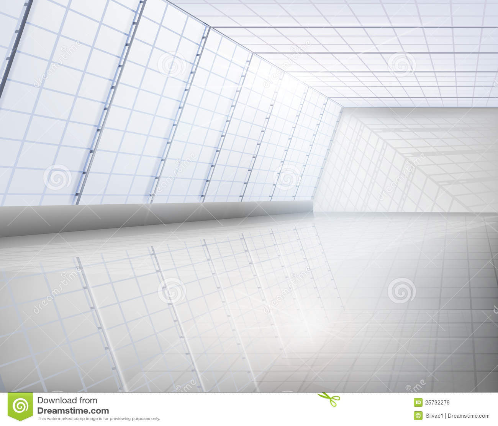 Interior of glass building