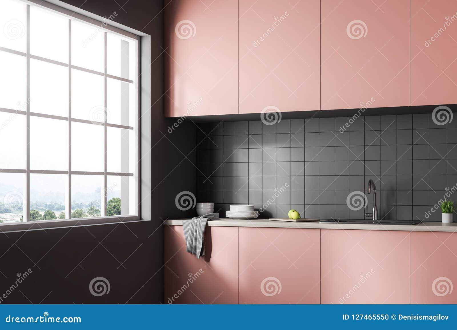 Interior Of Gray Tile Kitchen Pink Countertops Stock