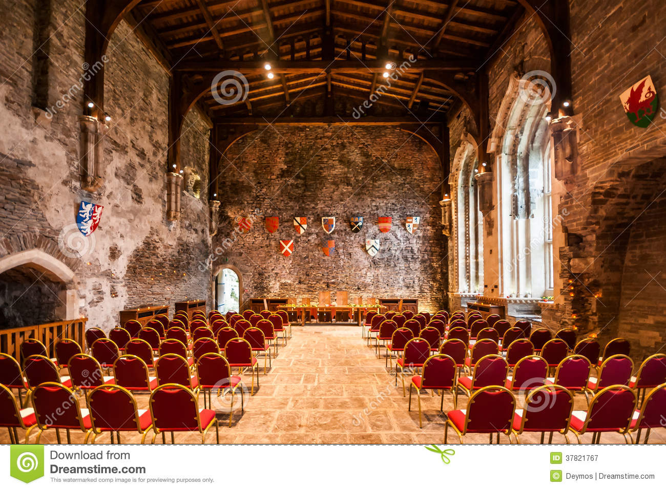 Interior Of The Great Hall Of Caerphilly Castle Editorial