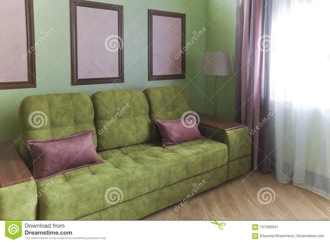 Download Interior In Green And Pink Colors With Green Sofa And Light  Parquet Stock Image
