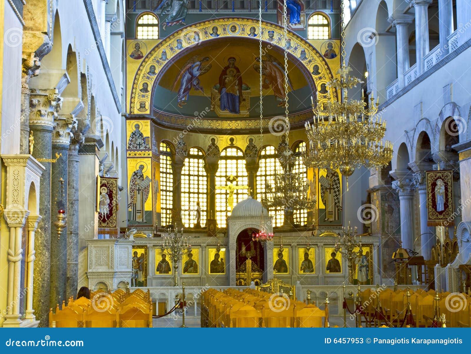 Interior griego de la iglesia ortodoxa