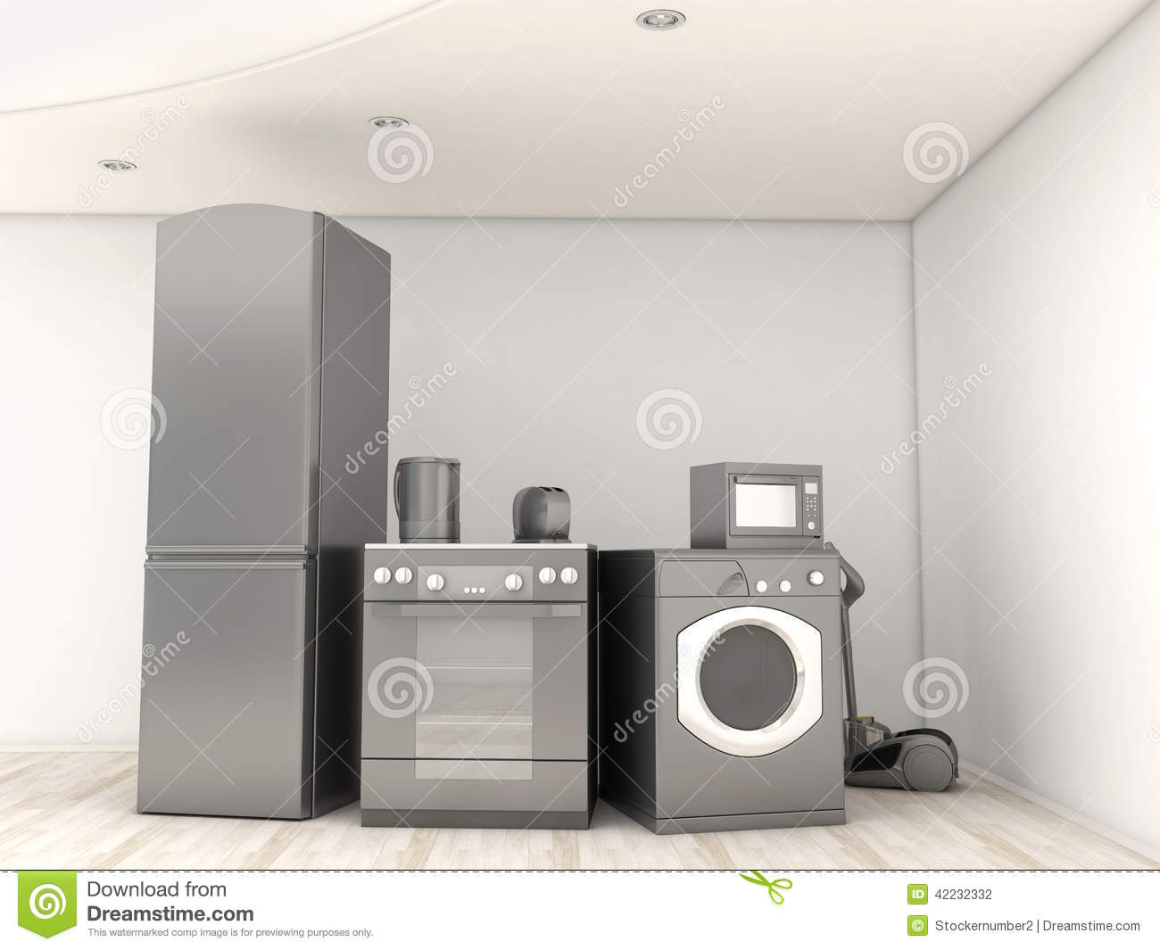 interior with group of home appliances stock illustration. Black Bedroom Furniture Sets. Home Design Ideas