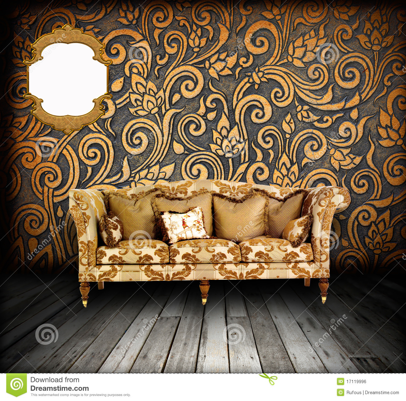 Interior Grunge Room With Classic Sofa Stock Photo Image