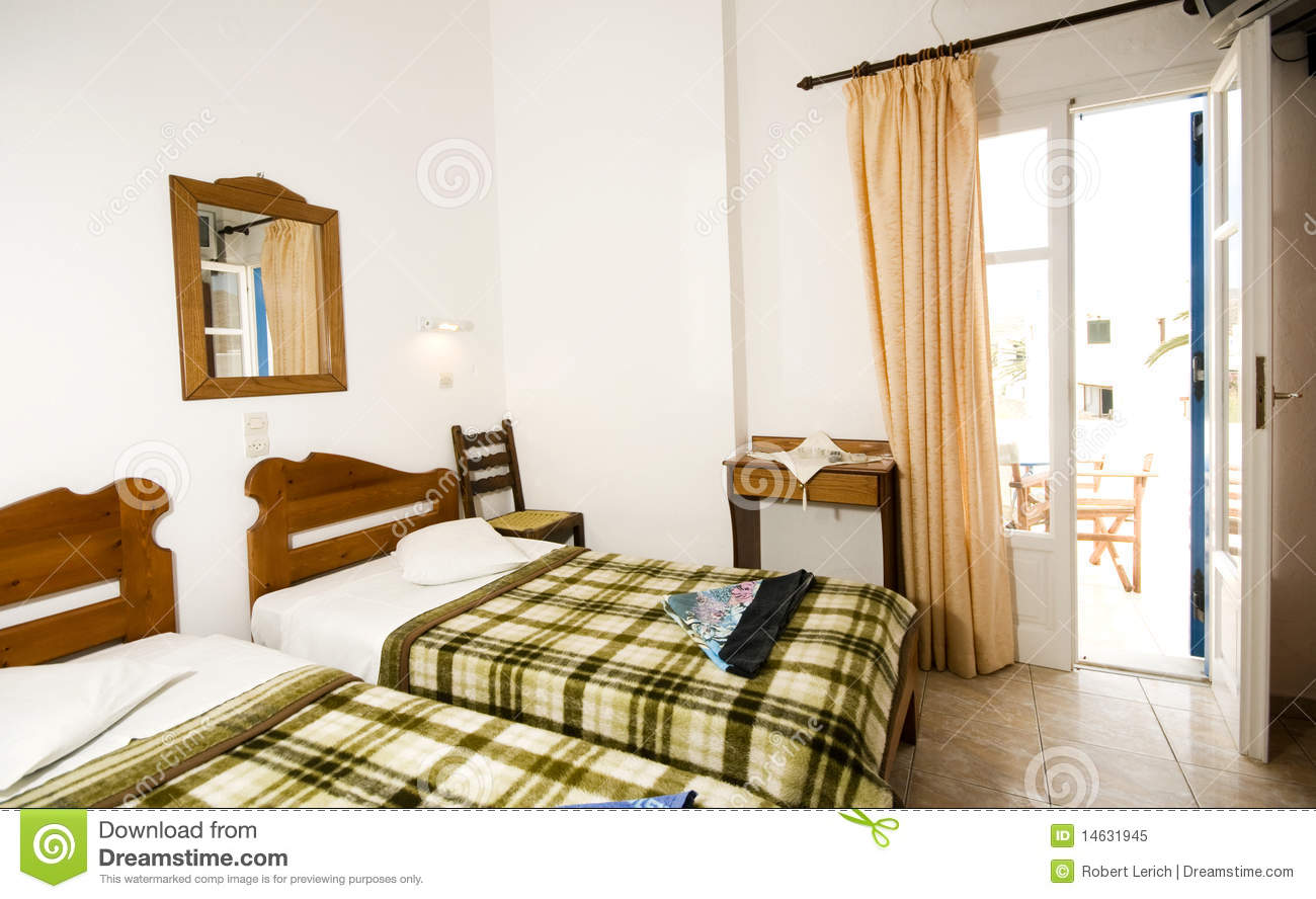 Interior Guest House Triple Room Greek Island Ios Royalty Free
