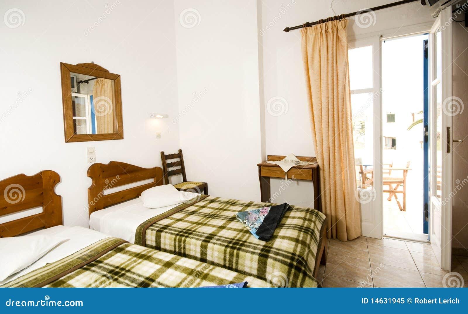 Interior guest house triple room greek island ios stock for Guest house interior design photos