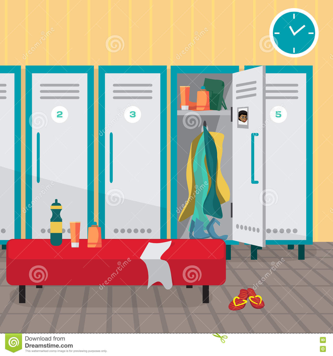 Interior of a gym locker room dressing place fitness