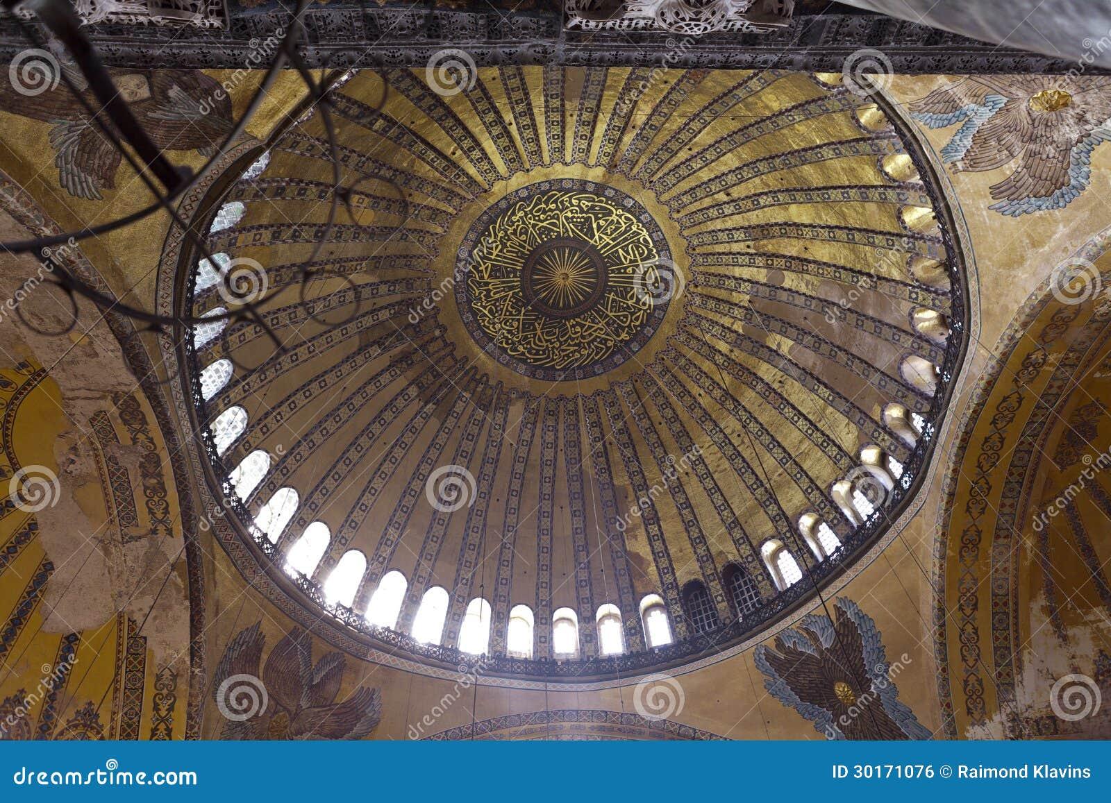 Aya Sophia in Istanbul Turkey inside