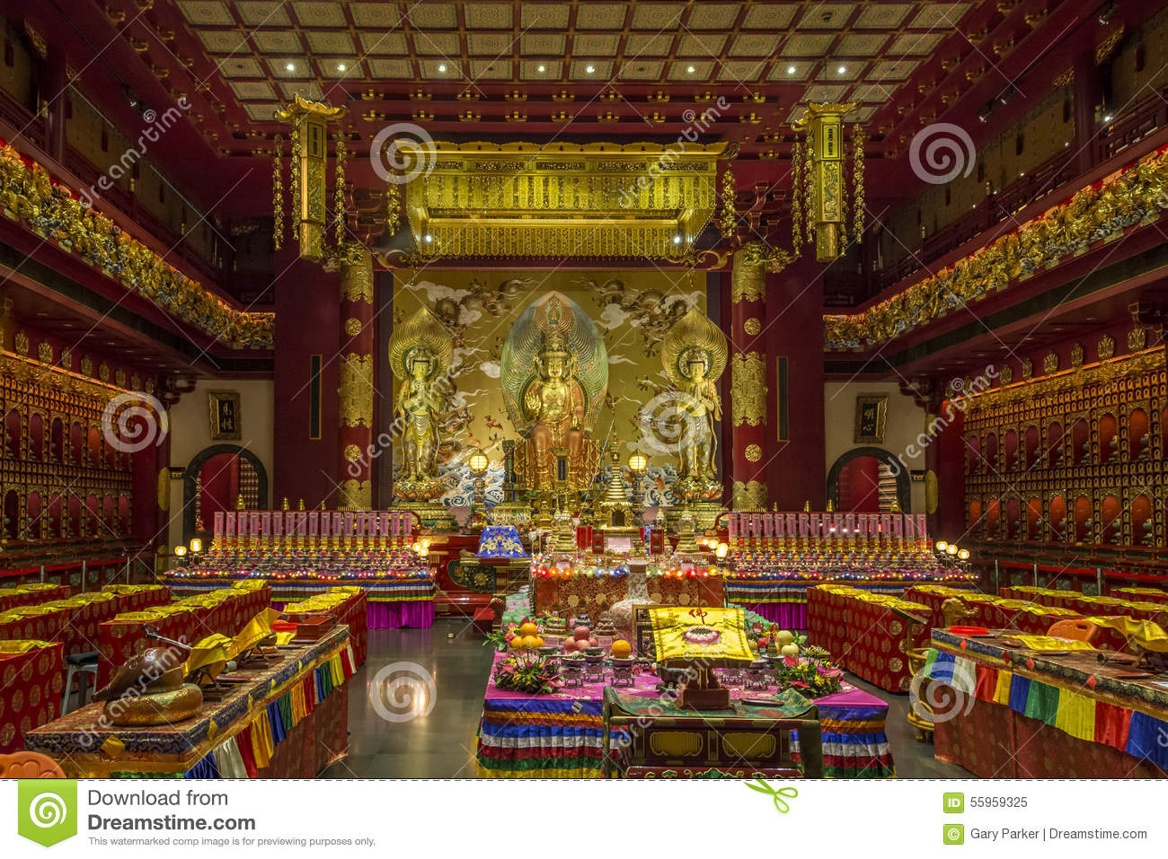 Interior Hall Of A Buddhist Temple Stock Image - Image of peaceful ...