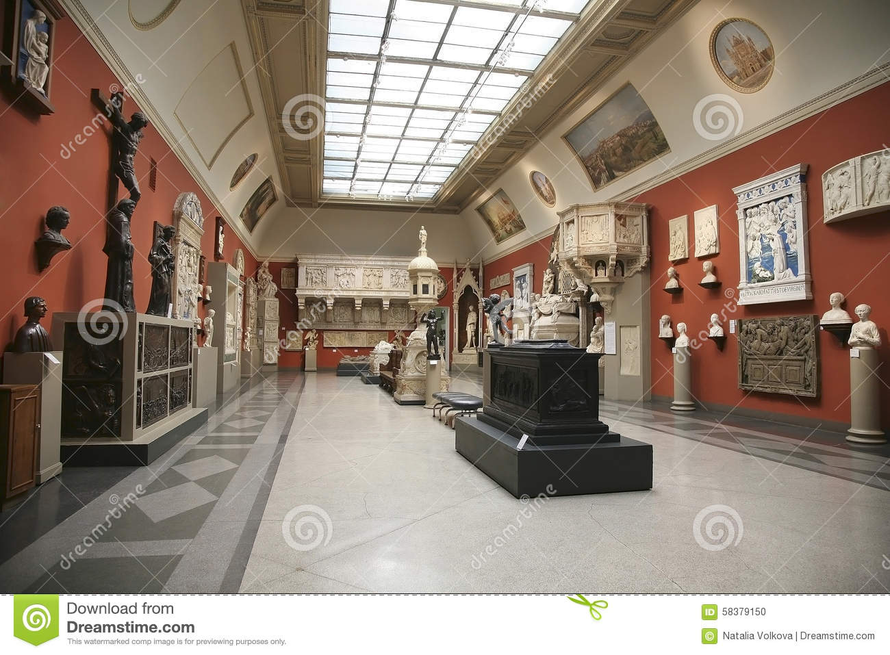 The interior of the hall of european medieval art for Drawing hall interior