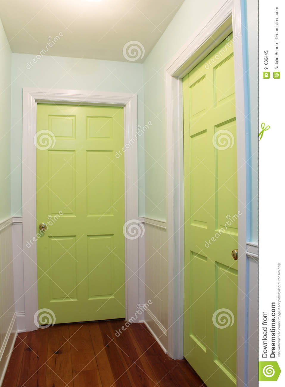 Interior Hallway With Two Green Doors Stock Image - Image of wall ...