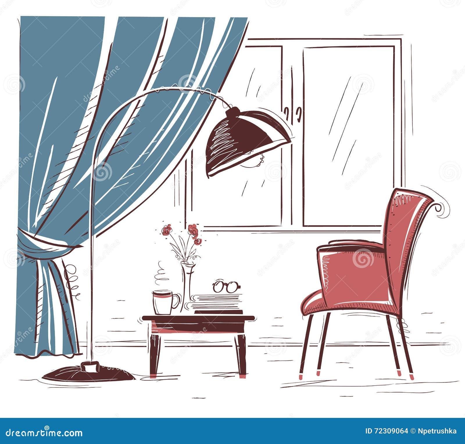 Sketchy Interior Illustration Of Living Room.Vector Hand Drawing ...